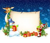 Weihnachtskarte mit einem schneemann rentier- und eine elfe — Stockvektor