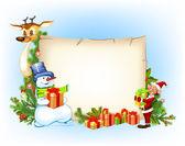 Fondo de navidad con un muñeco de nieve reno y un elfo — Vector de stock