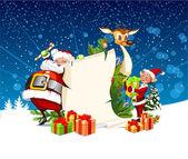 Cartolina di natale con le renne di babbo natale e gli elfi — Vettoriale Stock