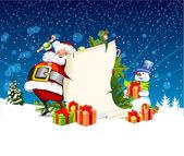 Papá noel y muñeco de nieve de pie junto a un pergamino para regalos — Vector de stock