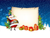 Santa Claus holding a candy and standing beside the scroll for g — Stock Vector