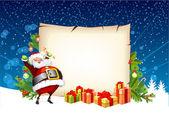 Santa claus gospodarstwa cukierki i stojący obok scroll g — Wektor stockowy