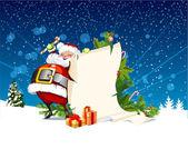 Santa claus innehar en rulle av gåva — Stockvektor