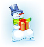 Snowman holding a gift — Stock Vector