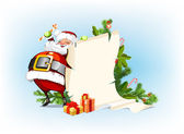 Santa Claus holding candy and standing beside the scroll for gif — Stock Vector