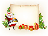 Santa Claus holding candy and standing beside scroll for gifts — Stock Vector