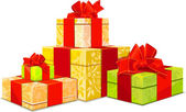 Illustration of four colorful gift box on white background — 图库矢量图片
