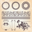 Collection of vintage floral pattern design elements - Stock Vector