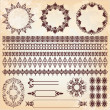Stock Vector: Set of vintage floral pattern design elements