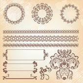Collection of ornate page decor elements: borders, banner, divid — Stok Vektör