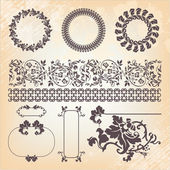 Collection of vintage floral pattern design elements — Stock Vector