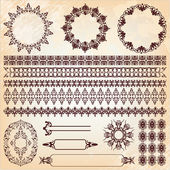Set of vintage floral pattern design elements — Stock Vector