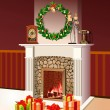 Royalty-Free Stock Photo: Background with decorated Interior, Christmas Festive Fireplace