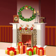 Stock Photo: christmas fireplace