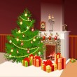 Stock Photo: Illustration of fireplace with gifts and decorated tree for chri