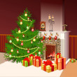 Illustration of fireplace with gifts and decorated tree for chri — Stockfoto