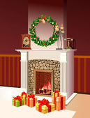 Background with decorated Interior, Christmas Festive Fireplace — Stock Photo