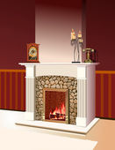 Fireplace with a fire burning — Stock Photo