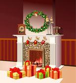Christmas fireplace — Stock Photo