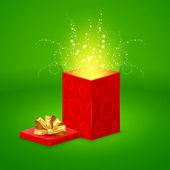 Sihirli hediye kutusu açma — Stok Vektör