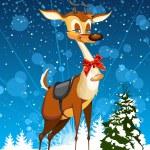 Christmas card with reindeer and Christmas tree — Stock Photo