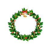Christmas wreath with baubles and christmas tree — Stockvector