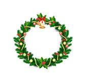 Corona de navidad con adornos y árboles de navidad — Vector de stock