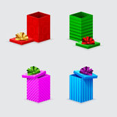 Four gift boxes and covers with bows — 图库矢量图片