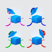 Four gift boxes and flying cap with ribbons and laces — Stockvector