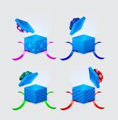 Vier geschenk-boxen und fliegende mütze mit bändern und spitzen — Stockvektor