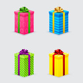 Four unopened gift boxes with ribbons and bows with lids — Stock Vector