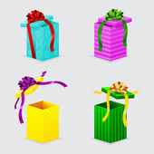 Four open gift boxes with ribbons and bows with lids — Stockvector
