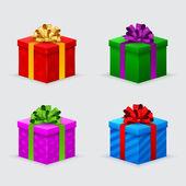 Bir doğum günü veya yaylar ve kurdela ile yeni yıl hediye kutuları — Stok Vektör