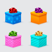 Gift boxes for a birthday or new year with bows — Stock Vector
