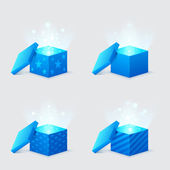 Magic light comes from the blue gift boxes — Stock Vector