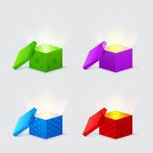 волшебный свет исходит от подарочные коробки — Cтоковый вектор