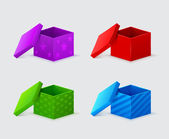 Purple, red, green, blue gift boxes with covers beside them — Cтоковый вектор