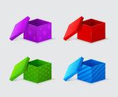 Lila, rot, grün und blau geschenk-boxen mit abdeckungen versehen — Stockvektor