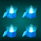 Magical light coming out of the blue gift boxes — Vector de stock