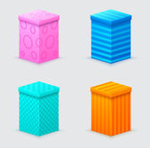 Four cones gift boxes with lids closed — Stockvektor