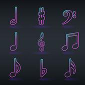 Musical fluorescent néon signe icônes — Vecteur
