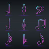 Fluorescent neon musical signs icons — Stock Vector