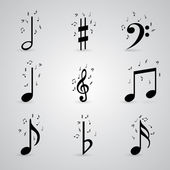 Icons set music note — Vettoriale Stock
