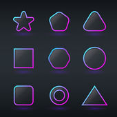 Fluorescent neon geometric shapes buttons — Stock Vector