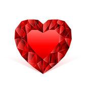 Ruby hjärta röd — Stockvektor