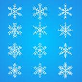 Kar taneleri koleksiyonu, tasarım öğesi — Stok Vektör