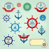 Set of nautical badges and labels logo — Stock Vector