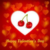 Illustration of cherries on background of white heart — Stock Vector