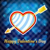 Heart pierced by an arrow on a blue background — Stock Vector