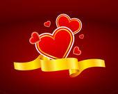 Gold ribbon heart icon — Stock Vector